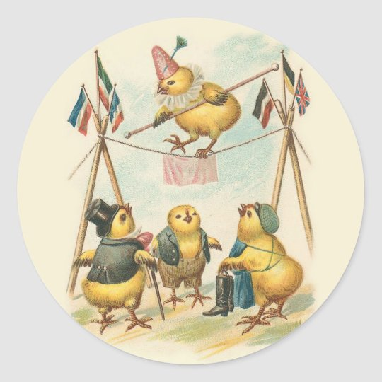 Vintage Easter Card With Circus Chicks Classic Round Sticker