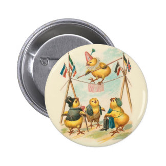 Vintage Easter Card With Circus Chicks Pinback Button