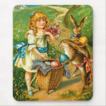 Vintage Easter Card With Girl And Bunnies Mouse Pad