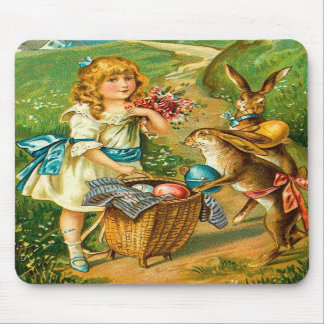 Vintage Easter Card With Girl And Bunnies Mouse Mat