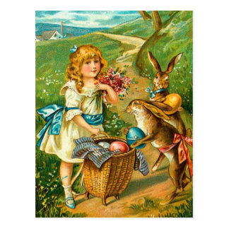 Vintage Easter Card With Girl And Bunnies Postcard