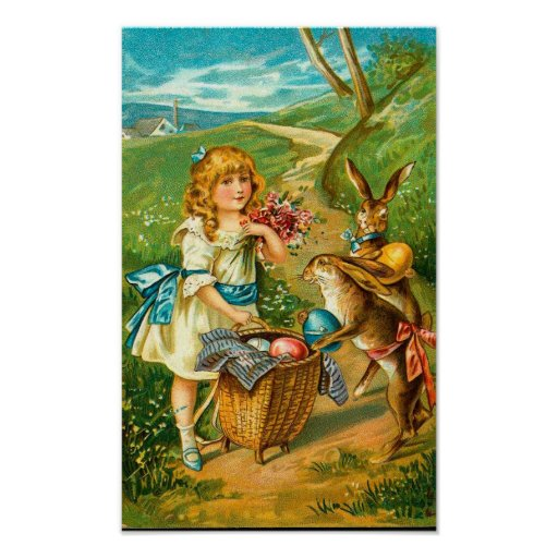 Vintage Easter Card With Girl And Bunnies Posters