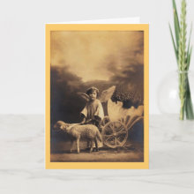 Vintage Easter Cherub Card - Vintage greeting card with a photo of a cherub with a lamb and Easter egg in a cart.