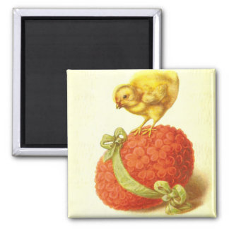 Vintage Easter Chick and Flower Egg Magnet