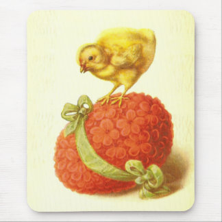 Vintage Easter Chick and Flower Egg Mouse Pad