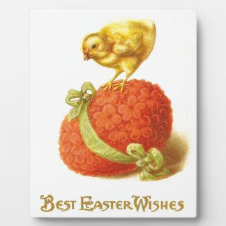 Vintage Easter Chick and Flower Egg Plaque
