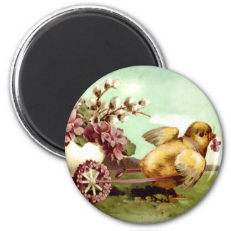 Vintage Easter Chick and Flower Wagon Magnet