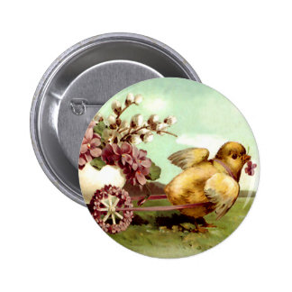 Vintage Easter Chick and Flower Wagon Pinback Button