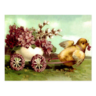 Vintage Easter Chick and Flower Wagon Postcard