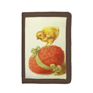 Vintage Easter Chick and Flowers Tri-fold Wallet