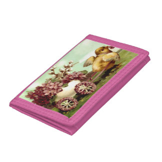 Vintage Easter Chick and Flowers Trifold Wallet