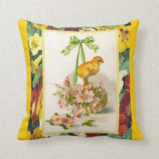 Vintage Easter, Chick  and pink flowers Throw Pillow