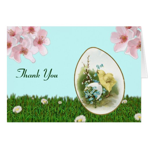 vintage easter chick baby shower thank you notes