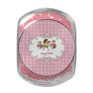 Vintage Easter Chick Easter Gift Jars with Candy Glass Jar
