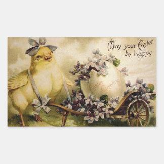 Vintage Easter Chick & Egg Cart Rectangular Sticker