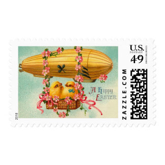 Vintage Easter Chick Hot Air Balloon Postage Stamp