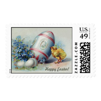 Vintage Easter, chick, painted egg, flowers Postage Stamps