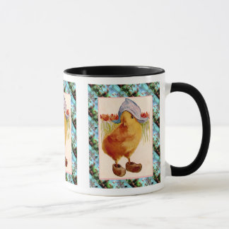 Vintage Easter,  Chick with clogs and tulips Mug