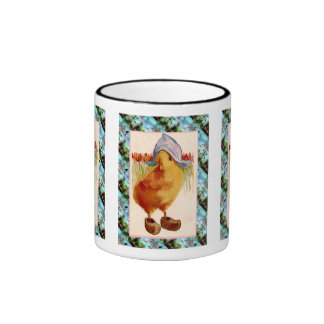 Vintage Easter,  Chick with clogs and tulips Ringer Mug