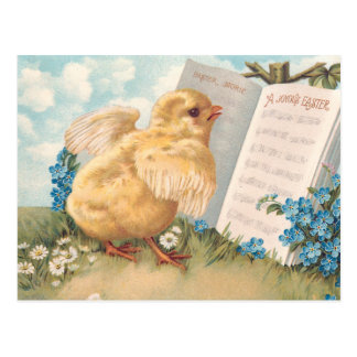 Vintage Easter Chick with Music and Flowers Postcard