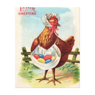 Vintage Easter Chicken and Easter Eggs Canvas Print