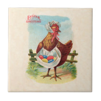 Vintage Easter Chicken and Easter Eggs Tile