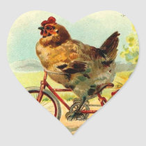 Vintage Easter Chicken on a Bicycle Heart Sticker