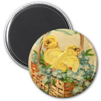 Vintage Easter Chicks 2 Inch Round Magnet