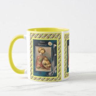 Vintage Easter,  Chicks and flowers Mug