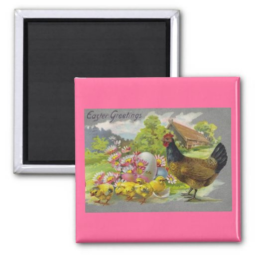 Vintage Easter Chicks and Rooster Magnet