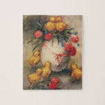 Vintage Easter Chicks and Victorian Tulips Jigsaw Puzzle