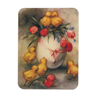 Vintage Easter Chicks and Victorian Tulips Magnet