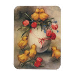 Vintage Easter Chicks and Victorian Tulips Rectangular Photo Magnet