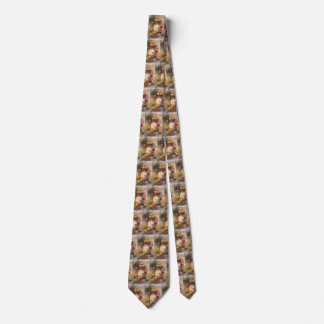 Vintage Easter Chicks and Victorian Tulips Tie