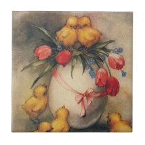 Vintage Easter Chicks and Victorian Tulips Tile