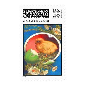 Vintage Easter Chicks Eggs Flowers Easter Card Postage