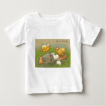 Vintage Easter Chicks Eggs Shoe Easter Card Baby T-Shirt