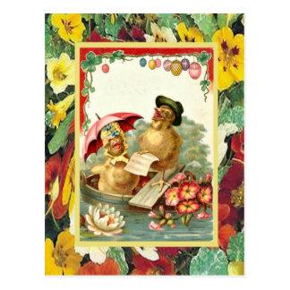 Vintage Easter, Chicks in a boat Postcard