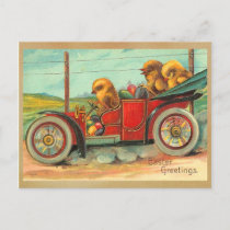 Vintage Easter Chicks in Automobile Holiday Postcard