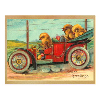 Vintage Easter Chicks in Automobile Postcard