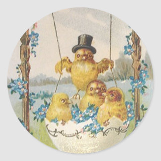 VINTAGE EASTER CHICKS IN EGG SWING GREETINGS CLASSIC ROUND STICKER