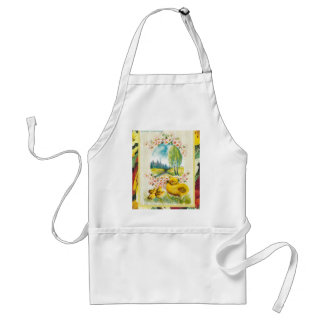 Vintage Easter, chicks in the country Adult Apron