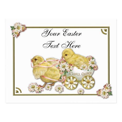 Vintage Easter Chicks Personalizeable Postcard