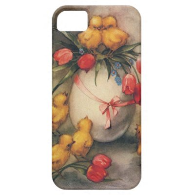Vintage Easter Chicks, Red Tulip Flowers on Egg iPhone 5 Cover