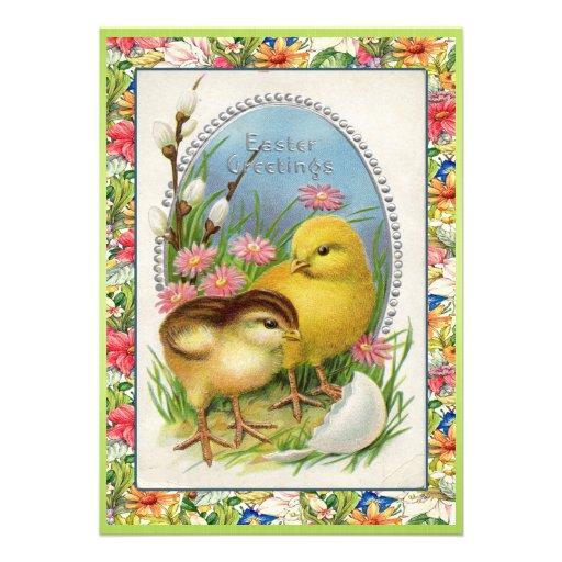 Vintage Easter Chicks Victorian Floral Invitations