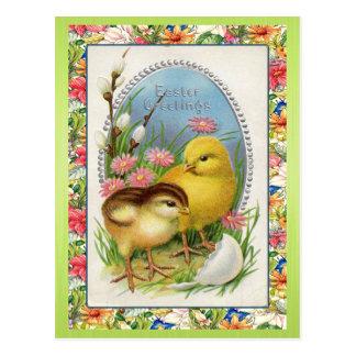 Vintage Easter Chicks Victorian Floral Spring Postcard