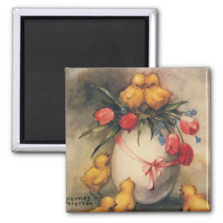 Vintage Easter Chicks with Red Tulip Flowers 2 Inch Square Magnet