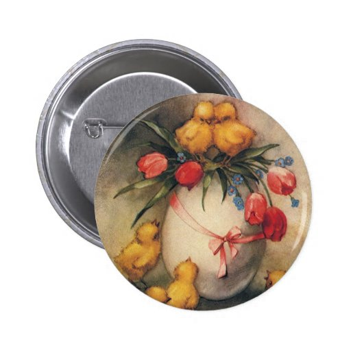 Vintage Easter Chicks with Red Tulip Flowers 2 Inch Round Button