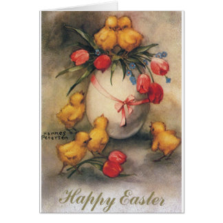 Vintage Easter Chicks with Red Tulip Flowers Card