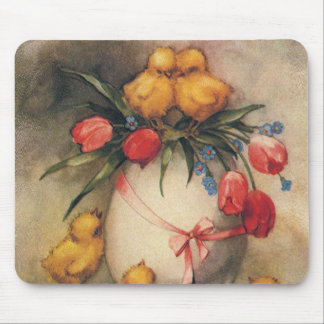 Vintage Easter Chicks with Red Tulip Flowers Mouse Pad